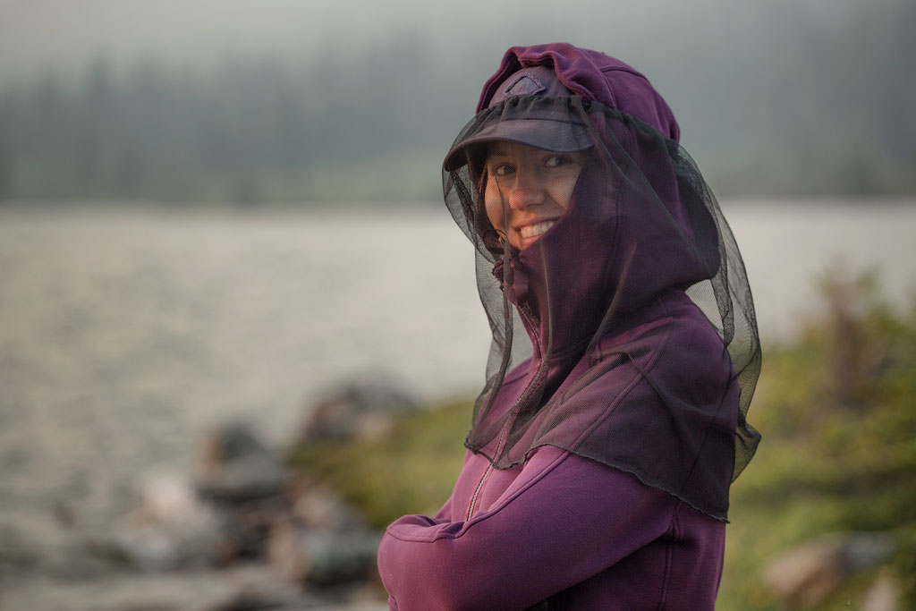 wearing face net on the Tonquin Valley trail in July is a necessity.