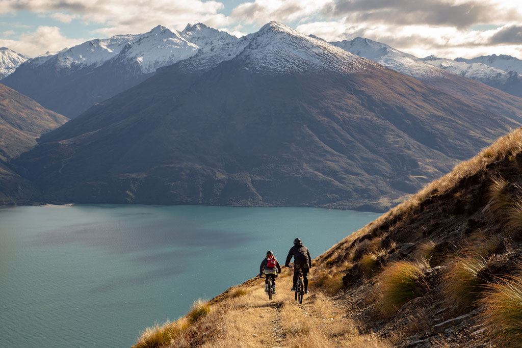 Biking down Mount Burke above Lake Wanaka