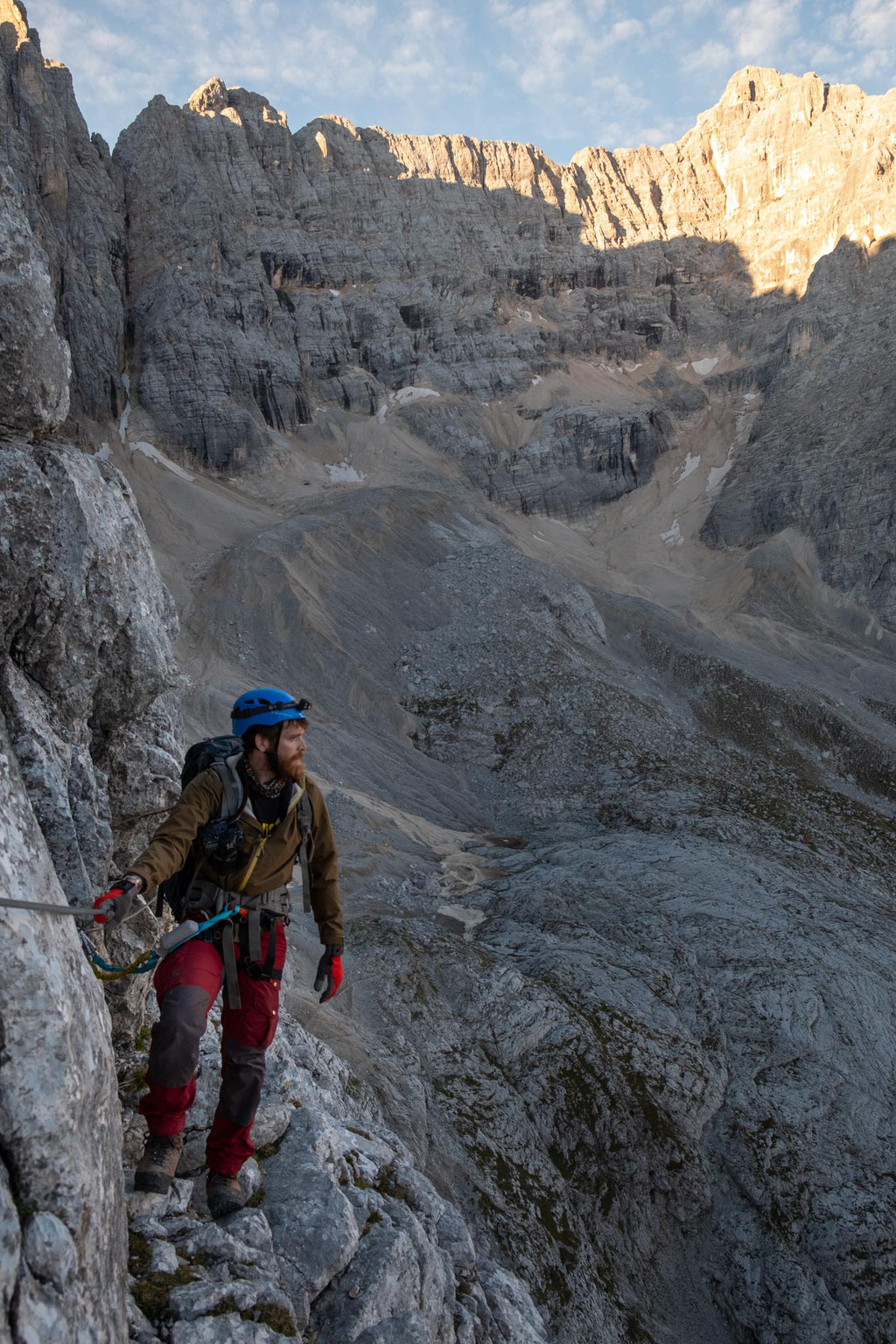 The steep walls along the via ferrata Alfonso Vandelli