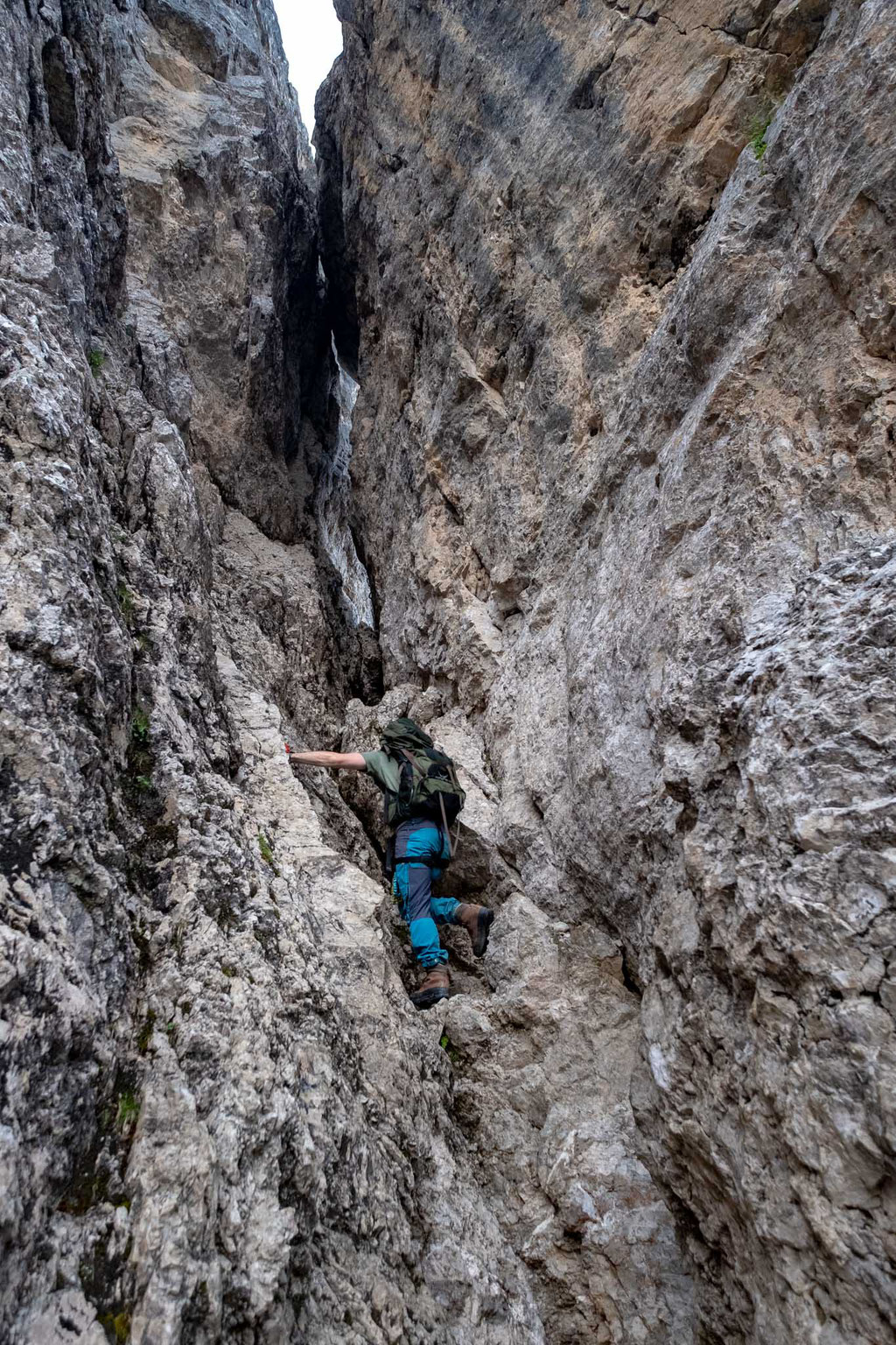 The gully where you climb unprotected