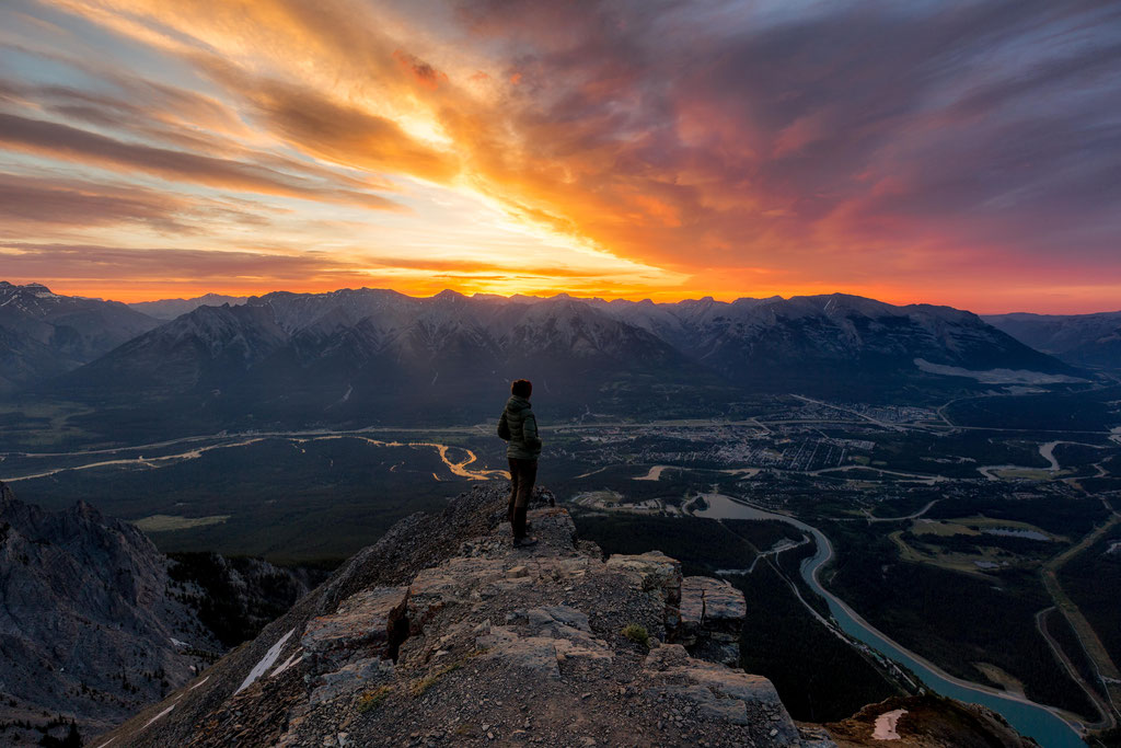 Sunrise over Canmore viewed from the top of East End of Mount Rundle