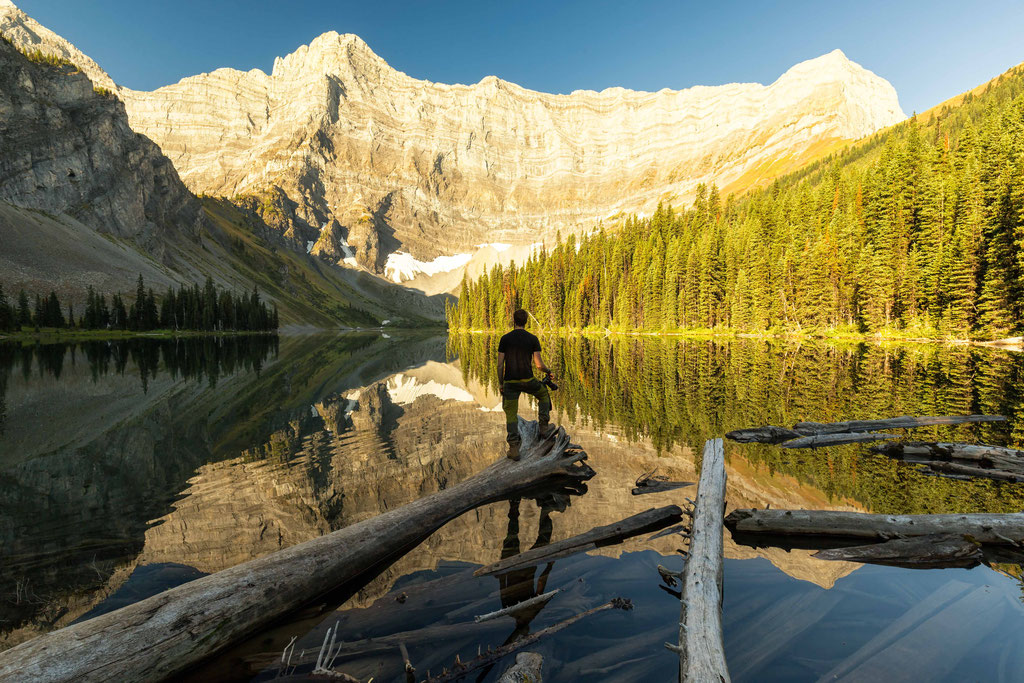 Rawson lake in the early morning light. Best day hikes in Canmore and Kananaskis