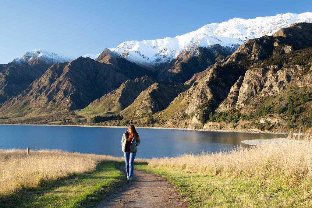 Strolling along Lake Hawea