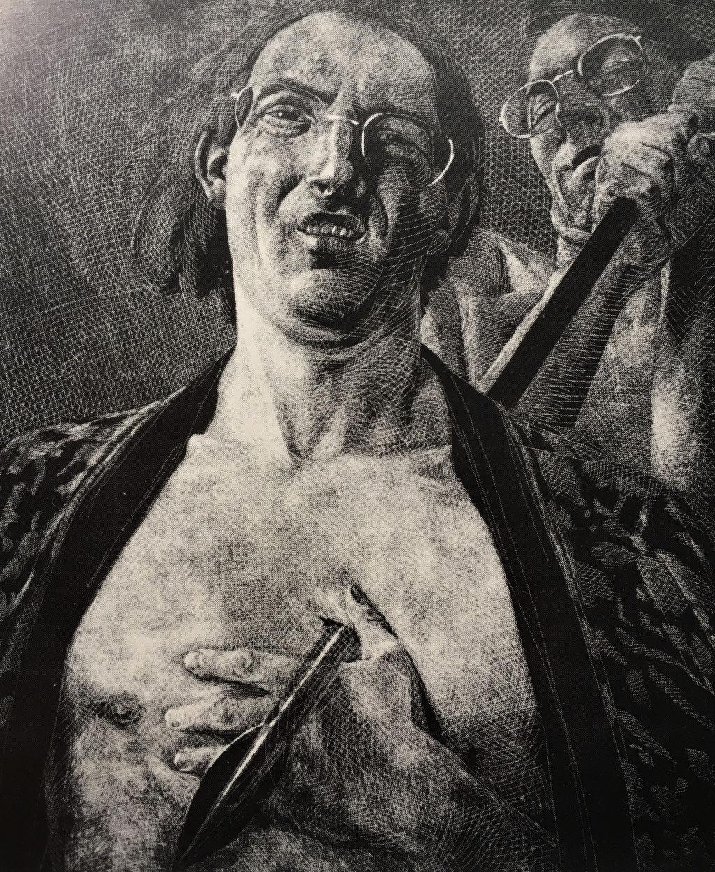 Johannes Grützke: *Amfortas*, 1976, Offset (s/w ), Ex. 71/99, 84 x 59 cm