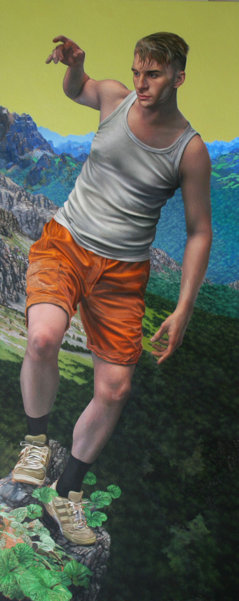 Andreas Leißner: *Fallen*, 2019, Öl/Hartfaserplatte, 170 x 70 cm