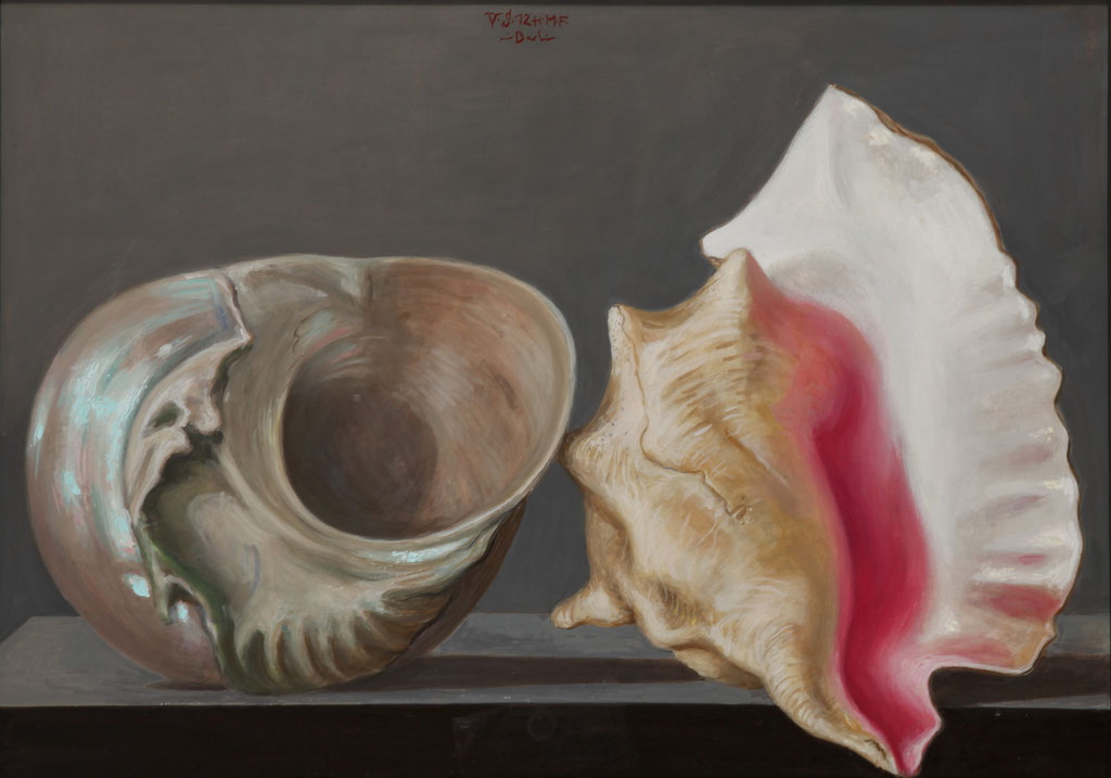 Volker Stelzmann: *Meer-Schnecken*, 2012, Mischtechnik/Nessel/MDF, 50 x 70 cm
