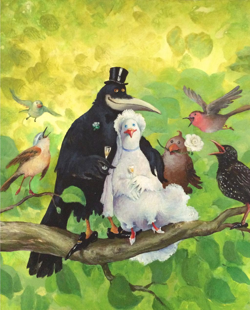 Rudi Hurzlmeier: *Vogelhochzeit*, Acryl/Papier, 40 x 45 cm