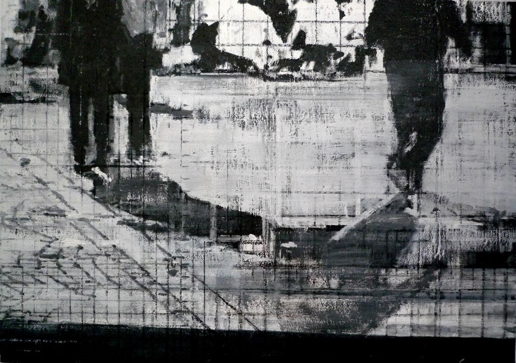 Heike Ruschmeyer: *Schwarz auf Weiß (06) - Oktoberfest - München/26. September 1980*, 2014, Kohle, Ölfarbe/Karton, 50 x 71 cm