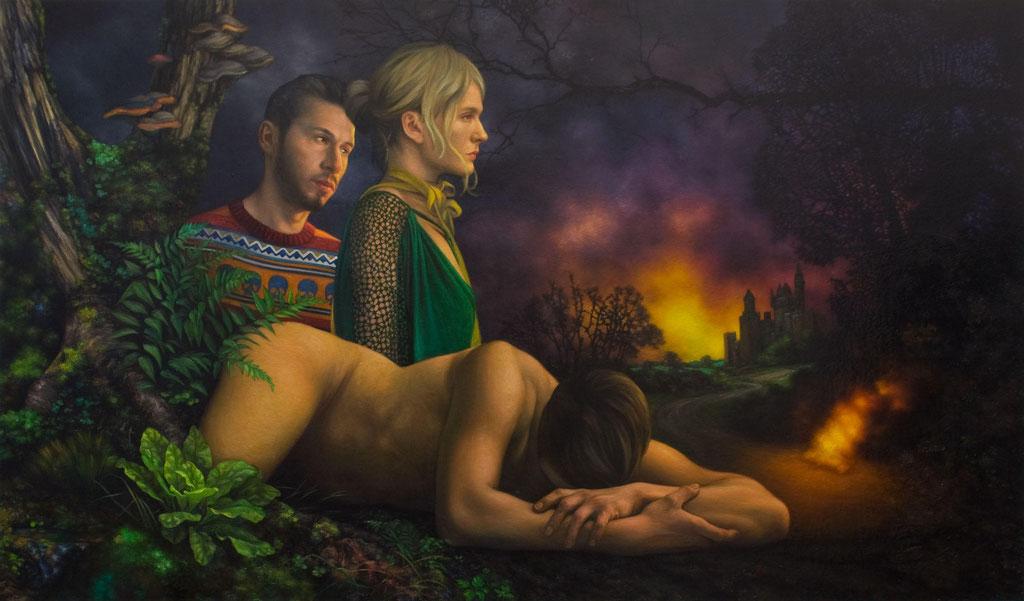 Andreas Leißner: *Träumer II*, 2016, Öl/Hartfaserplatte, 100 x 176 cm