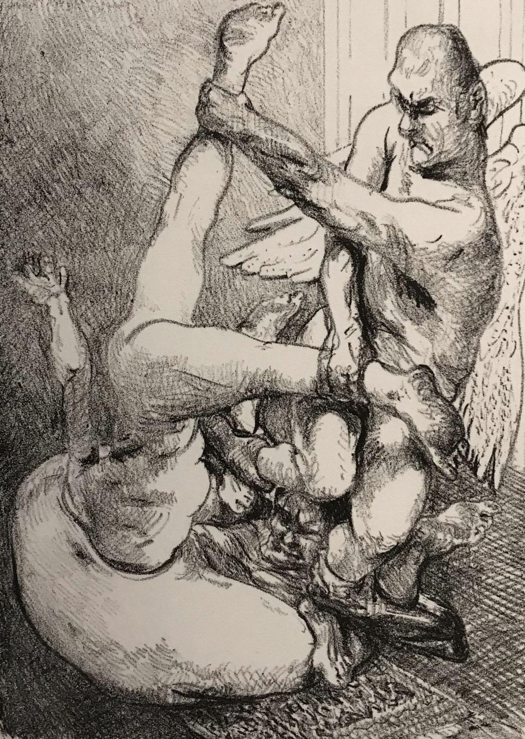 Johannes Grützkr: *Der himmlische Bohrer*, 1977, Lithografie mit Kreide, 17,8 x 12 cm (Motiv) auf 26,1 x 33 cm, Auflage 25 und 10 Ex. d'Artiste
