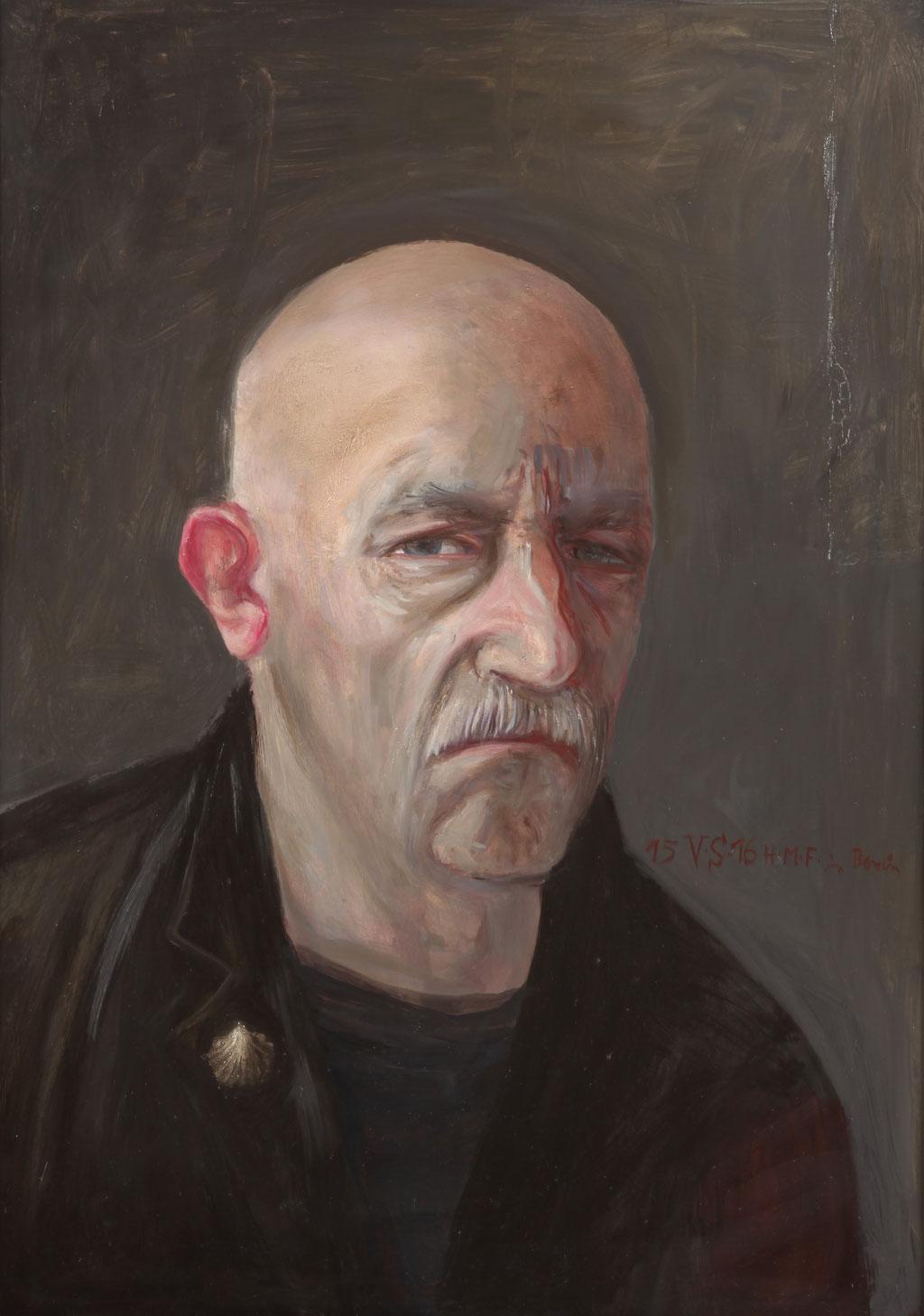 Volker Stelzmann: *Selbst mit Muschel*, 2015/16, Mischtechnik/MDF, 70 x 50 cm