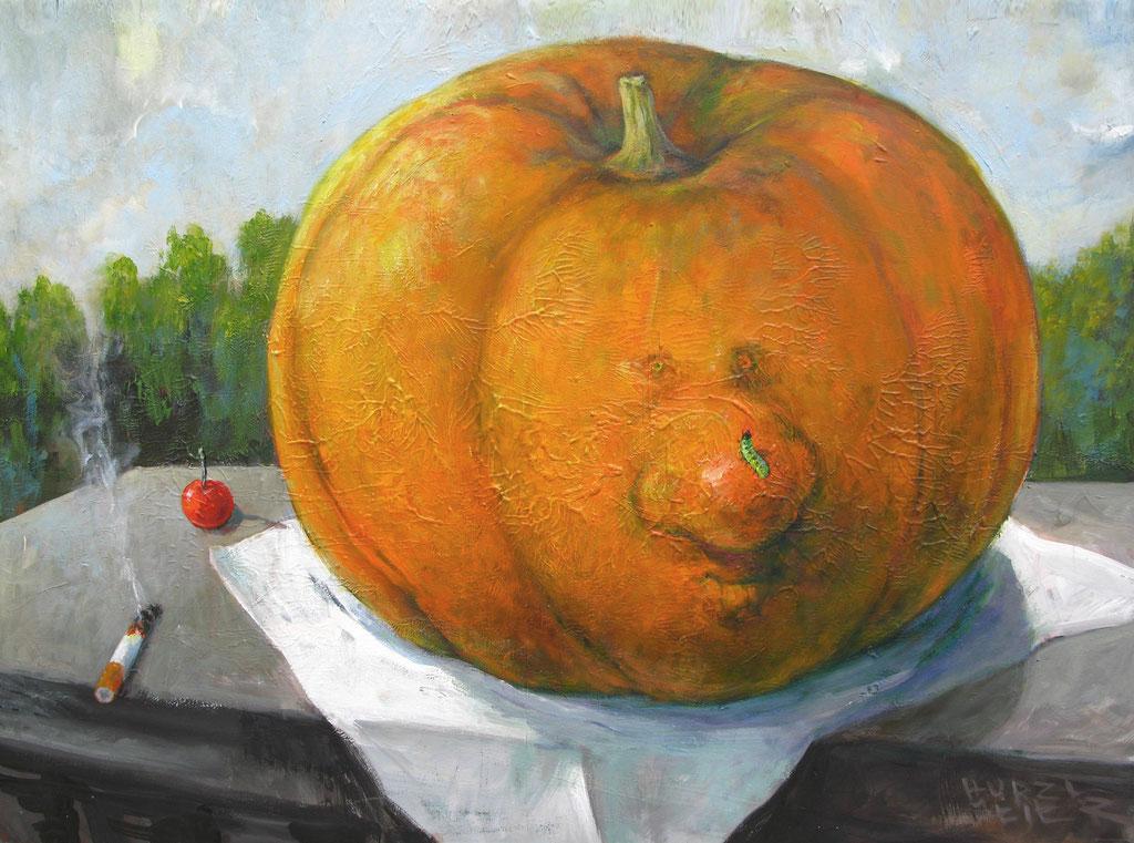 Rudi Hurzlmeier: *Obststillleben*, Acryl/Leinwand, 100 x 80 cm