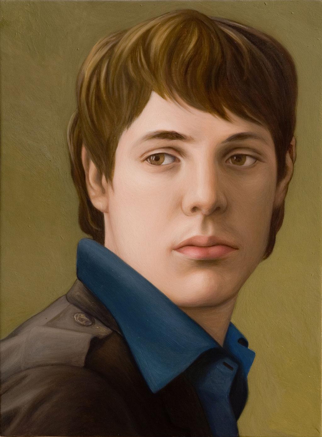 Andreas Leißner: *Selbst*, 2008, Öl/Nessel auf MDF-Platte, 37 x 27 cm