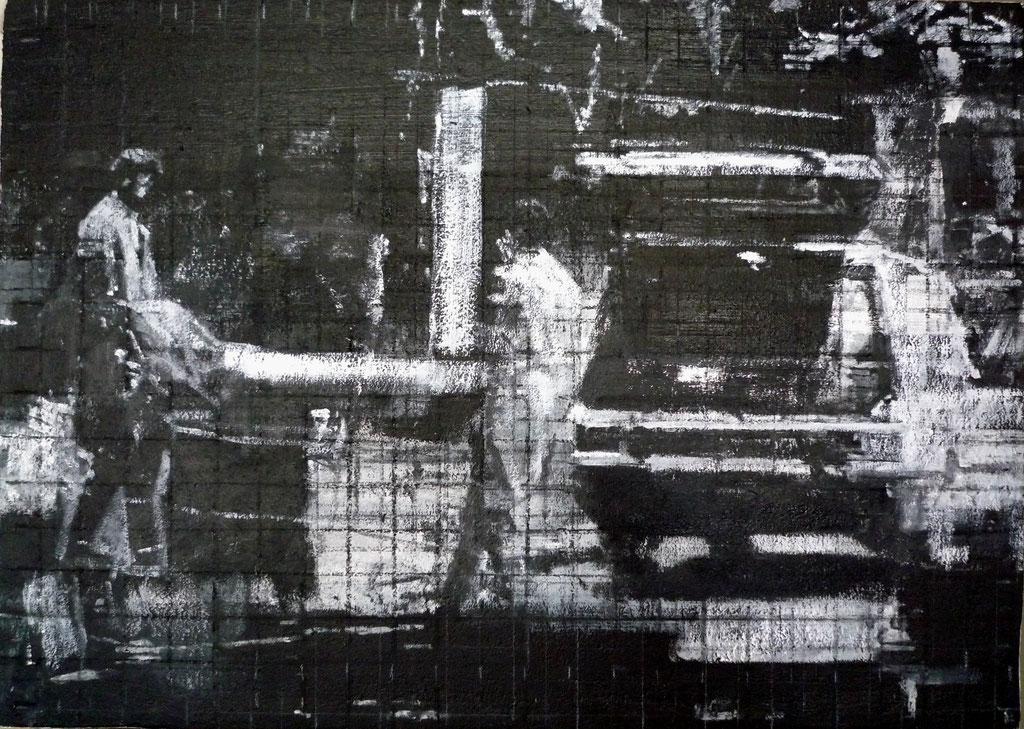 Heike Ruschmeyer: *Schwarz auf Weiß (10) - Düsseldorf/1. April 1991*, 2014, Kohle, Kreide, Ölfarbe/Spanplatte, 50 x 70 cm