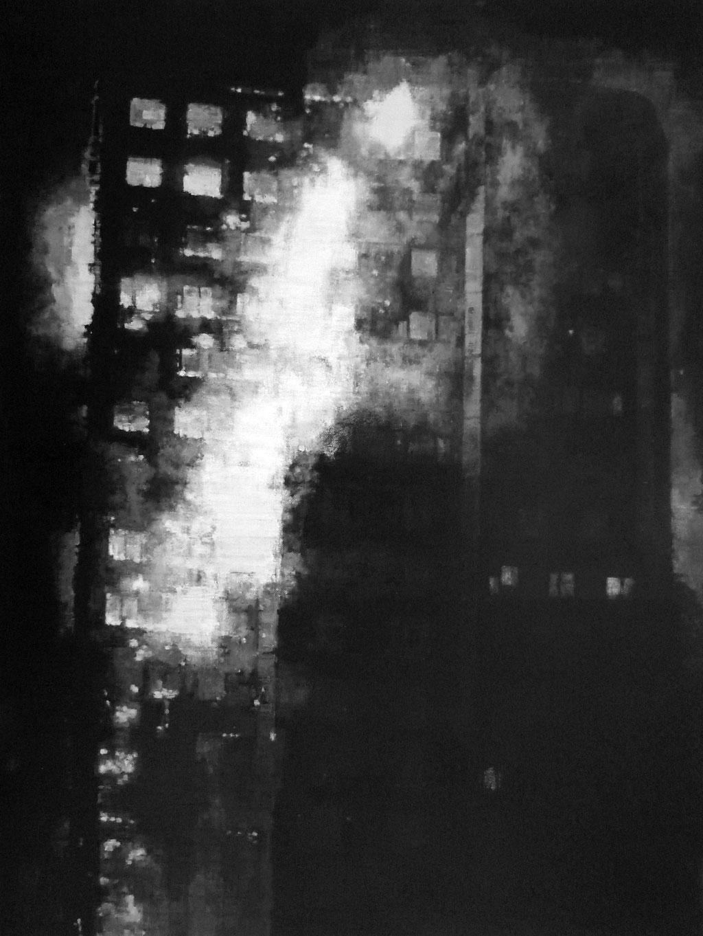 Heike Ruschmeyer: *Schwarz auf Weiß (16) - London-Kensington/14. Juni 2017*, 2017, Ölfarbe/Baumwolle, 80 x 60 cm