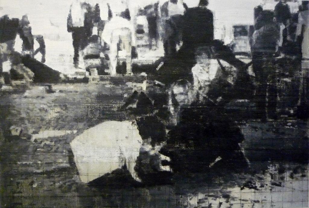Heike Ruschmeyer: *Schwarz auf Weiß (08) - Oktoberfest - München/26. September 1980*, 2014, Kohle, Ölfarbe/MdF, 55 x 80 cm