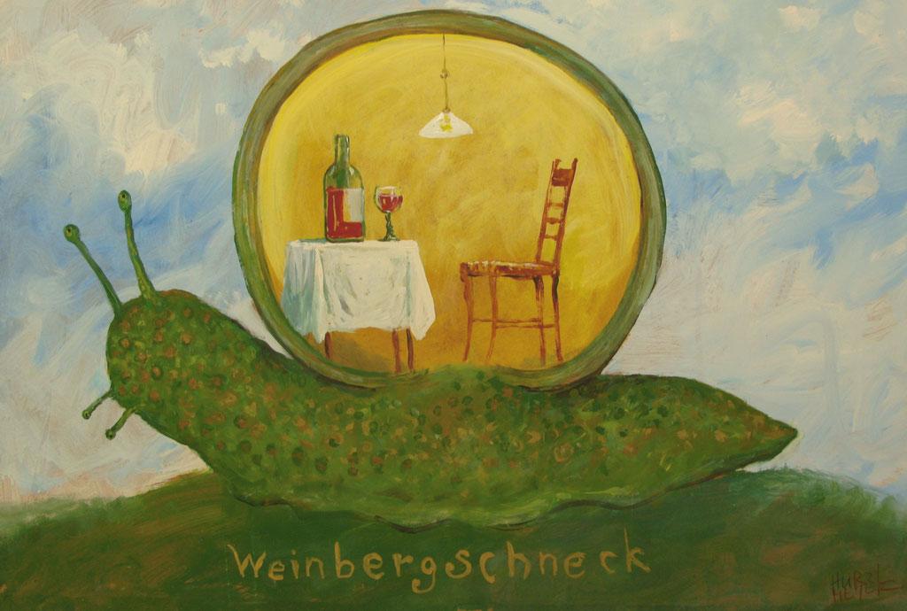 Rudi Hurzlmeier: *Weinbergschneck*, Acryl/Hartfaser, 100 x 80 cm