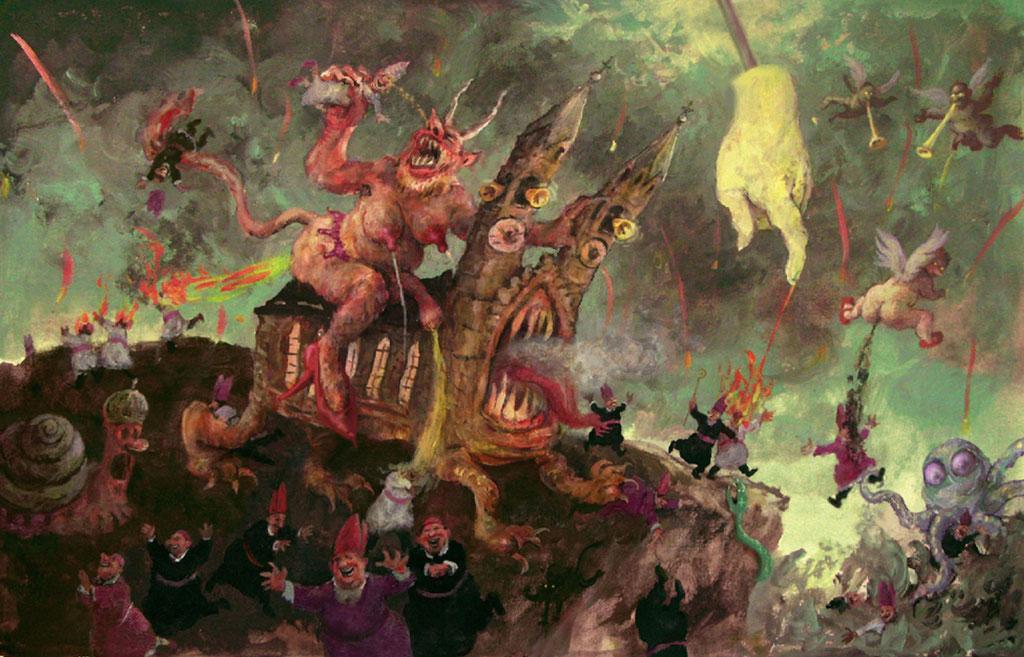 Rudi Hurzlmeier: *Apokalypse*, Acryl/Papier, 70 x 50 cm