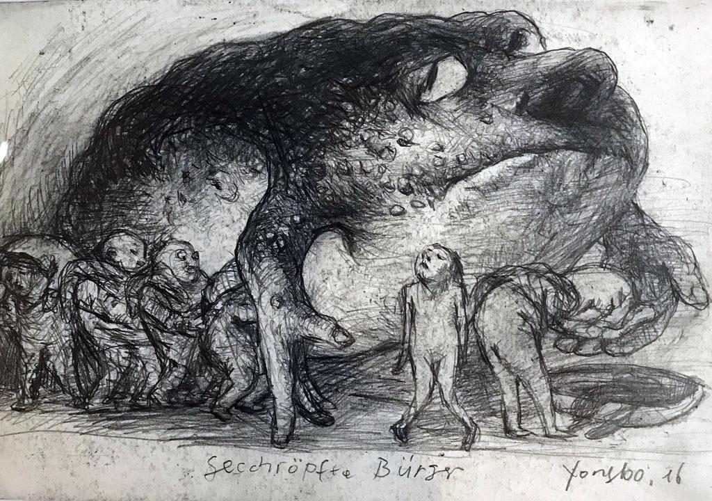 Yongbo Zhao: *Geschröpfte Bürger*, 2016, Bleistift/Papier, 21 x 30 cm (hinter Glas)