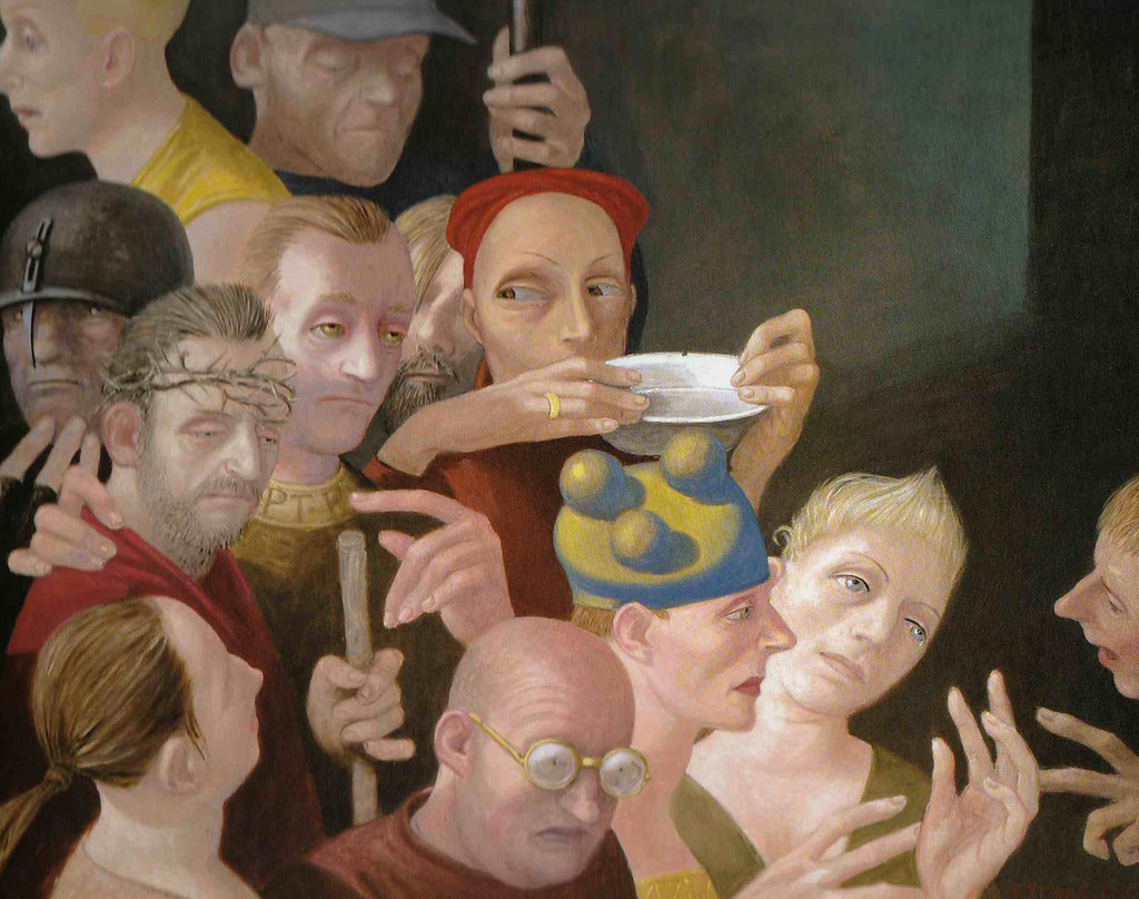 Volker Stelzmann: *Ecce Homo II*, 2011, Mischtechnik/Nessel/MDF, 80 x 100 cm