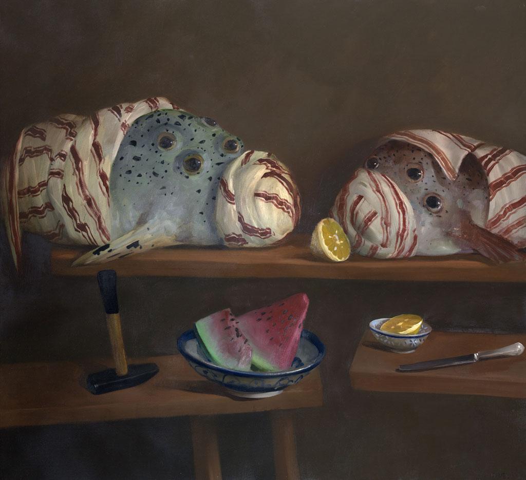 Pavel Feinstein: *N 977* (Die sieben Augen), 2003, Öl/Leinwand, 120 x 130 cm