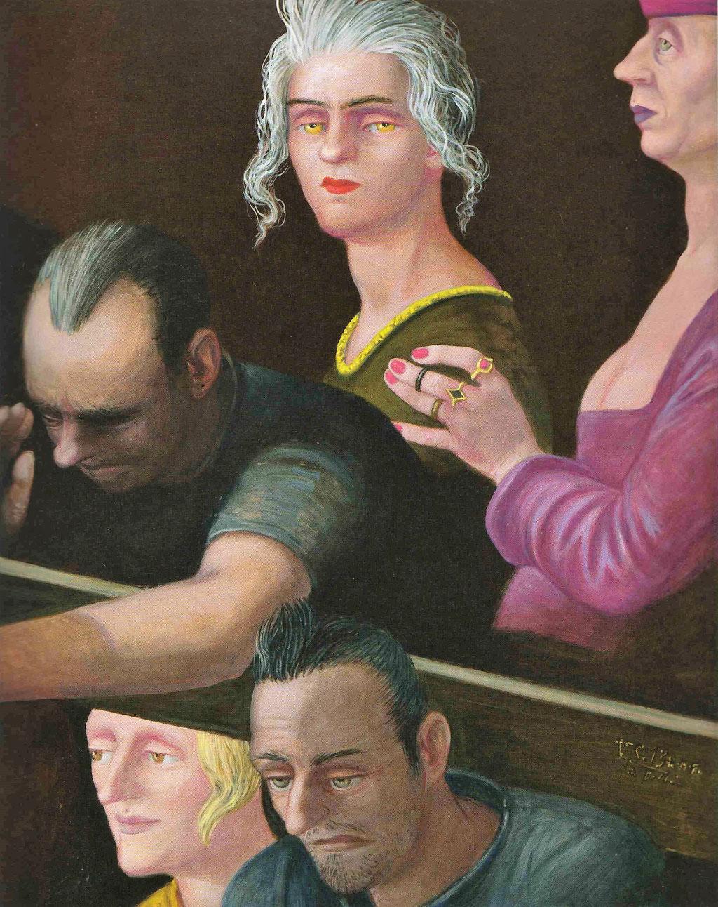 Volker Stelzmann: *Balkenträger (Ausschnitt)*, 2013, Mischtechnik/MDF, 80 x 100 cm