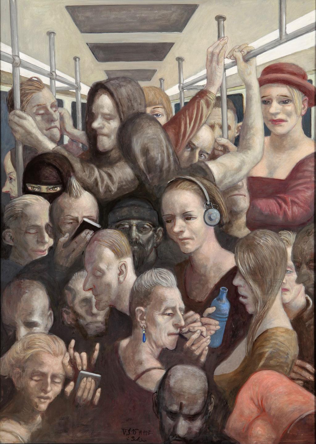 Volker Stelzmann: *U-Bahn*, 2015, Mischtechnik/Nessel/MDF, 140 x 100 cm