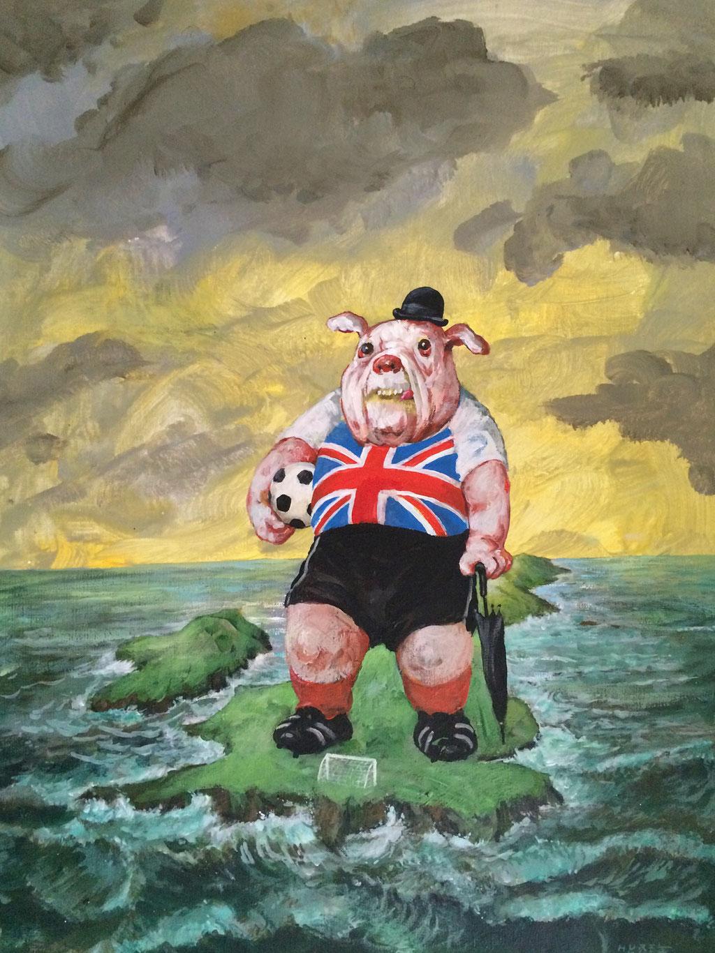 Rudi Hurzlmeier: *Grüße aus Brexitannien*, Acryl/Papier, 40 x 55 cm