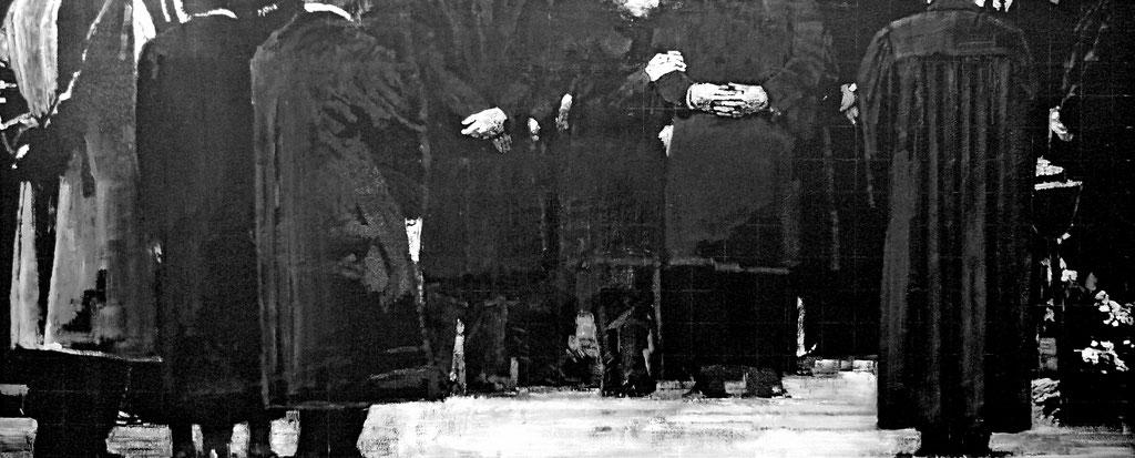 Heike Ruschmeyer: *17. Oktober 1992*, 2013, Kreide, Kunstharz, Ölfarbe/MdF, 55 x 133 cm