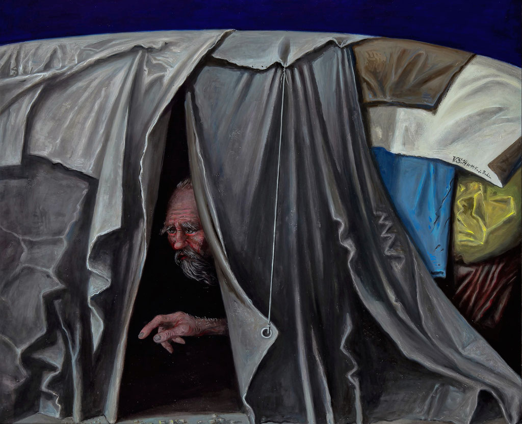 Volker Stelzmann: *Stadtzelt*, 2014, Mischtechnik/Nessel/MDF, 100 x 120 cm