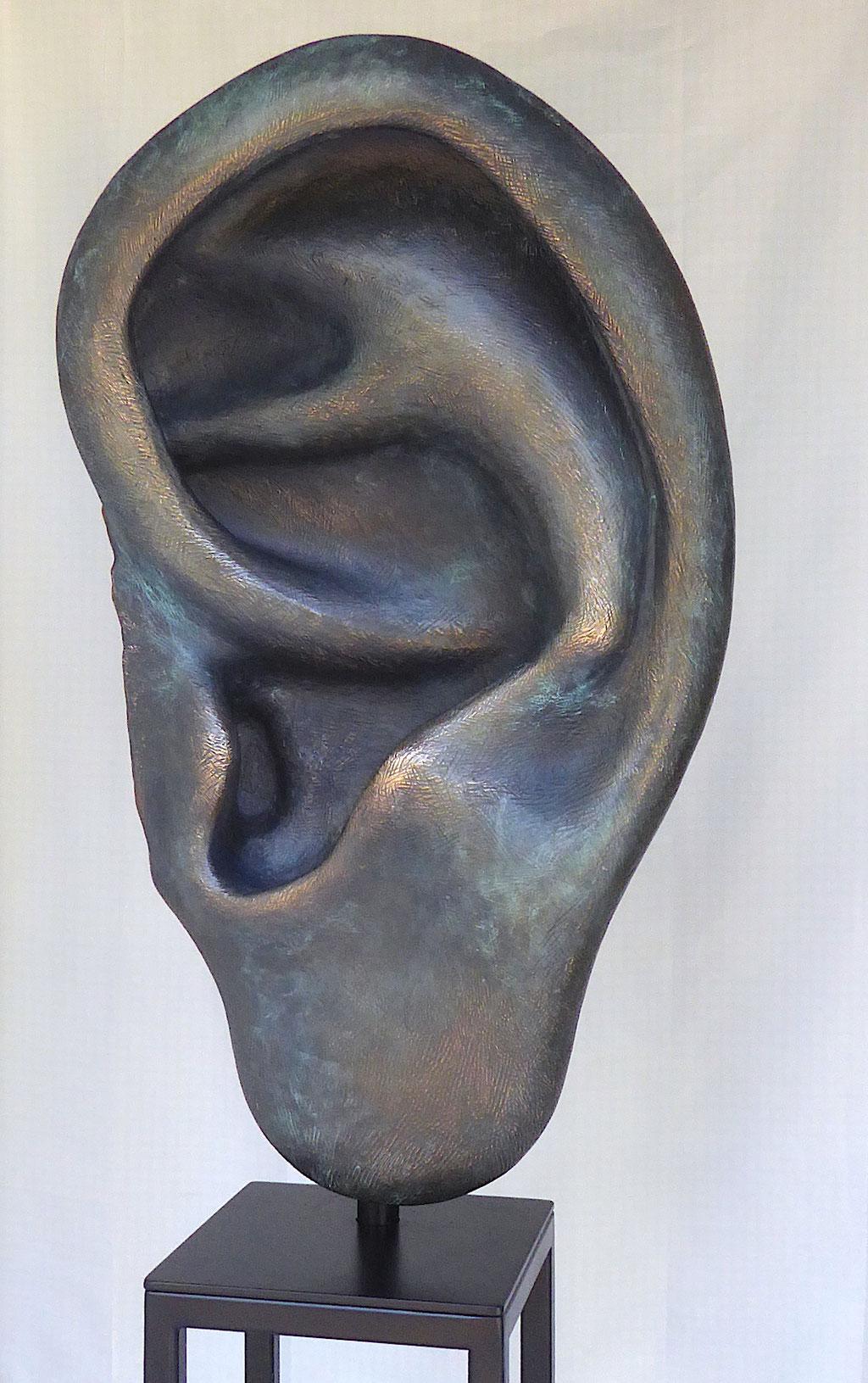 Ohr, ca. 95x50x30, Bronze/Patina, 2018