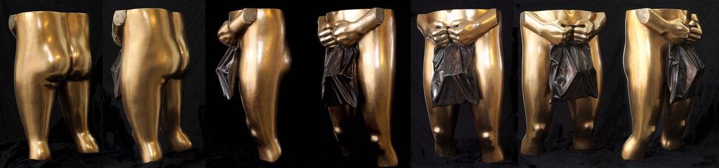der Letzte (Mann mit Tüte), ca. 70x40x35 cm, Bronze patiniert, 2020