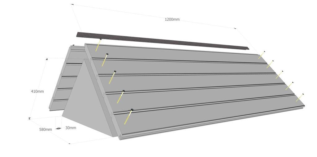 Ruche horizontale: le toit et le faîtage