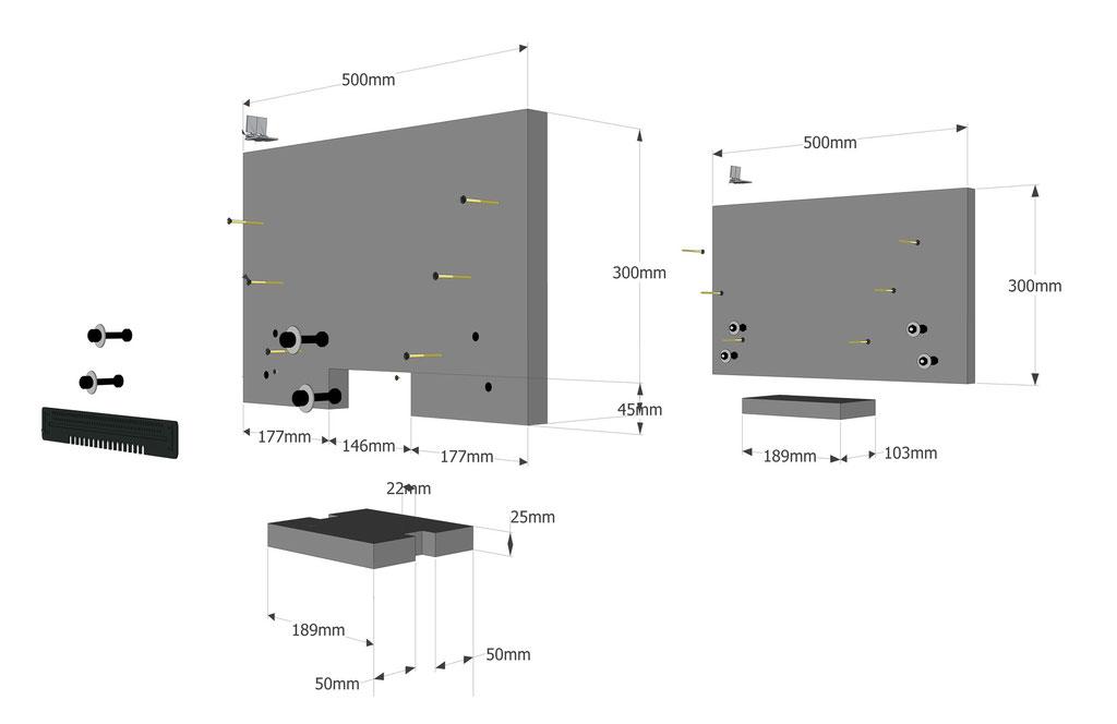 Ruche horizontale: les pignons et la piste d'envol