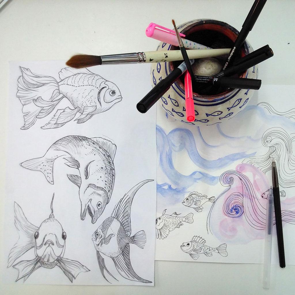 fish, sketches, illustration