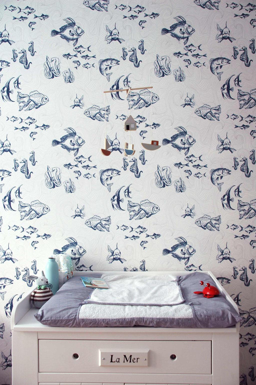 kids room interior design, fish wallpaper