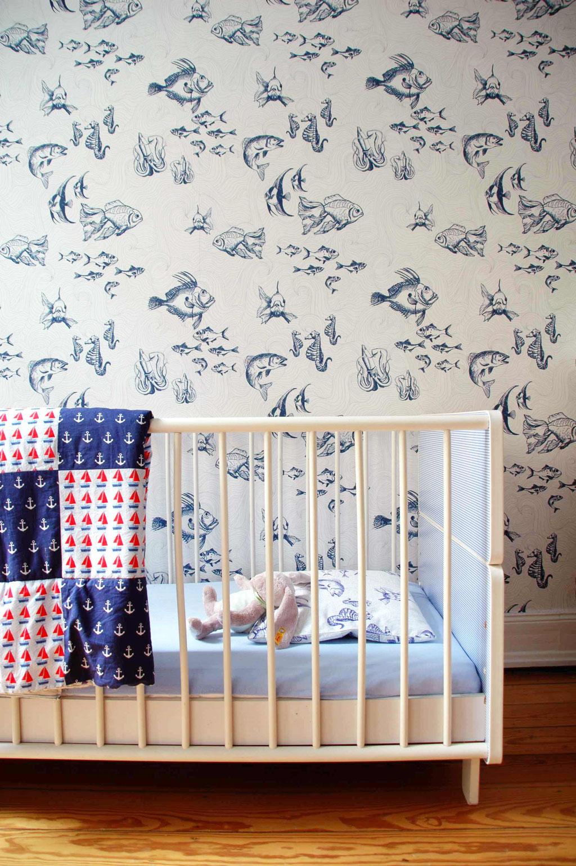 interior design for kids, fish illustration, maritime look