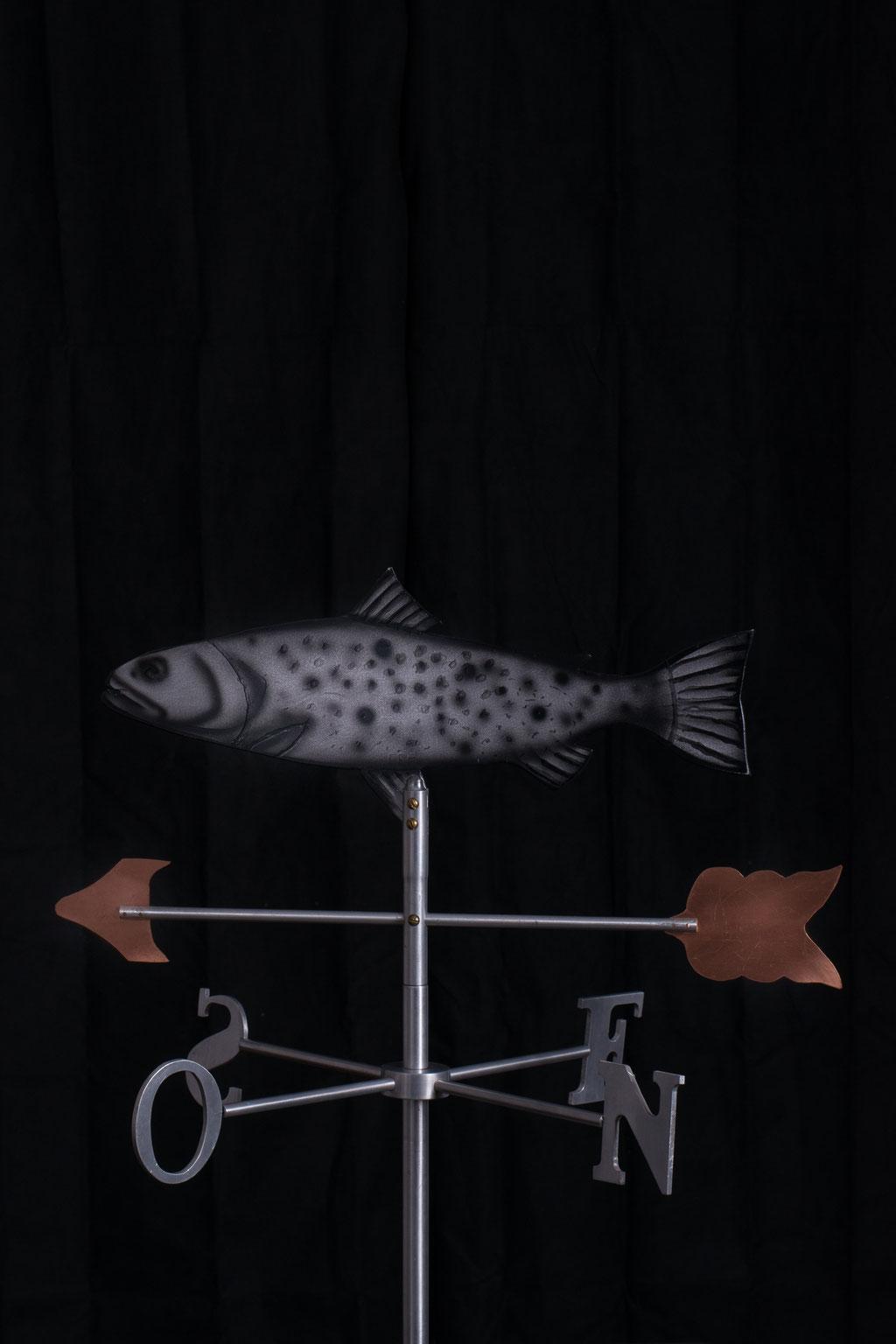 """Girouette Poisson, Aluminium acrylique, 30"""" haut x 24"""" x 24"""", 2012.  $350.00"""