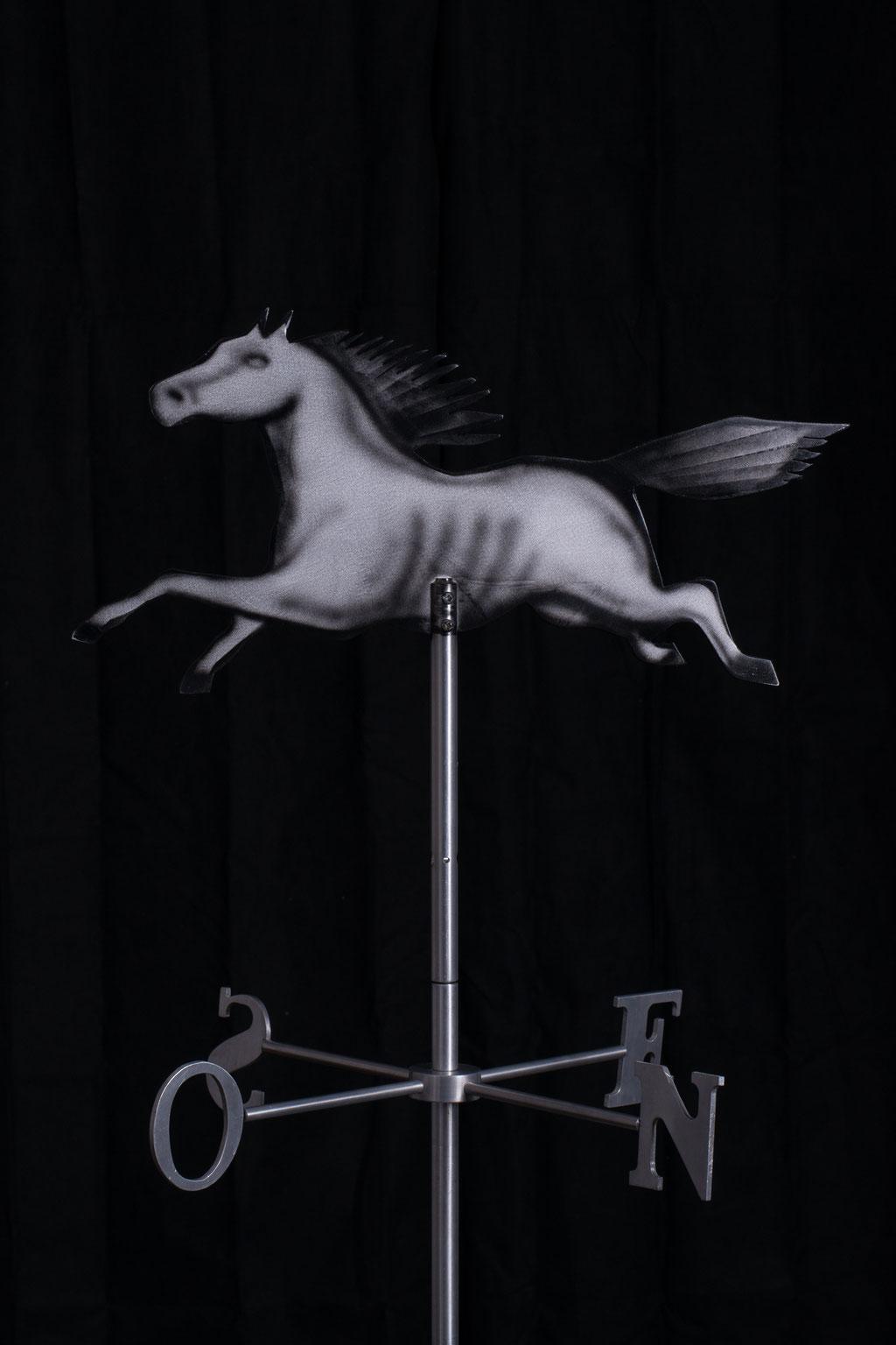 """Girouette Cheval, Aluminium acrylique, 32"""" haut x 24"""" x 24"""", 2015.  $350.00"""