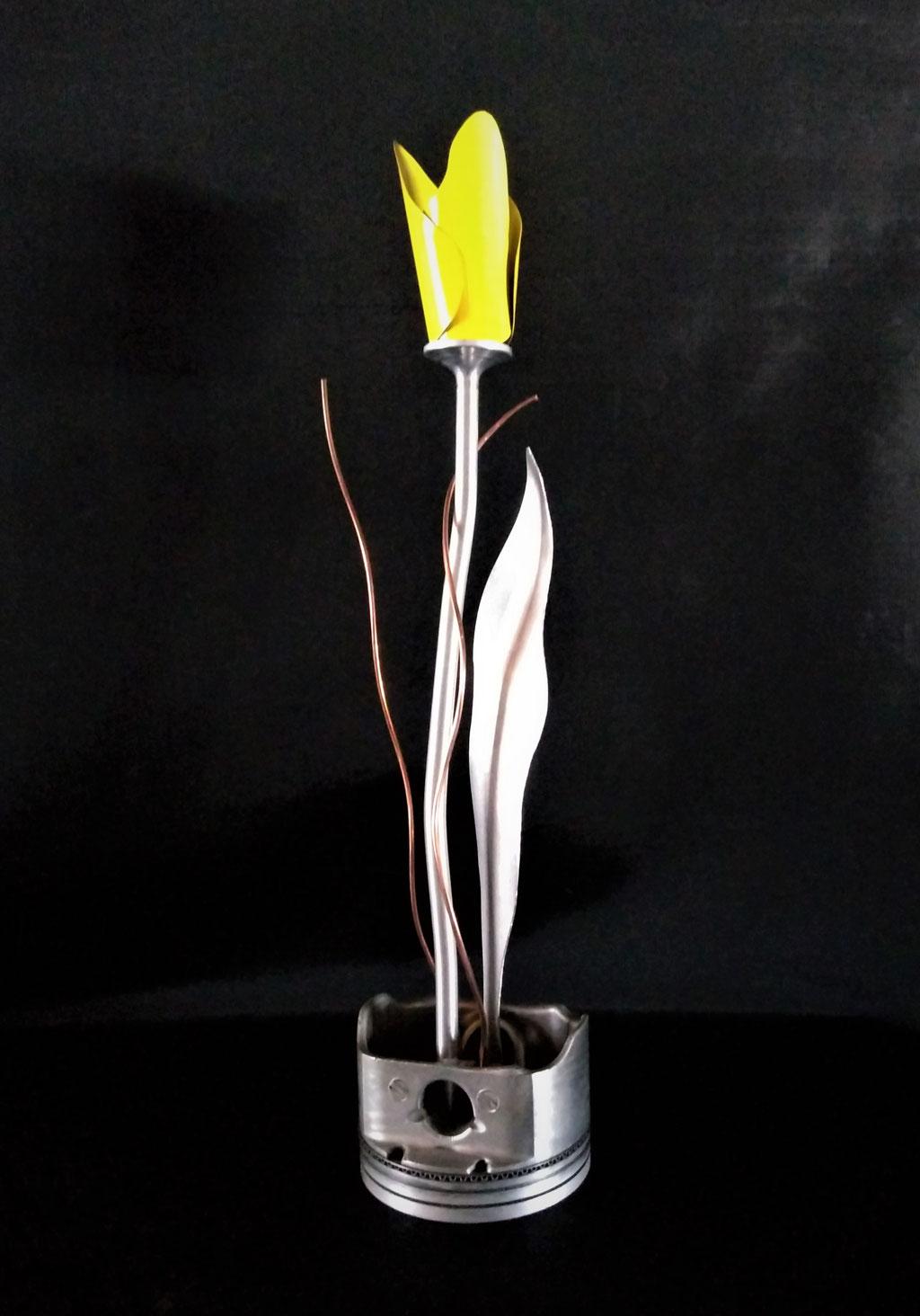 """Tulipe piston jaune, Aluminium, piston  recyclé, 20"""" H x 4"""" dia, 2019, $80.00"""