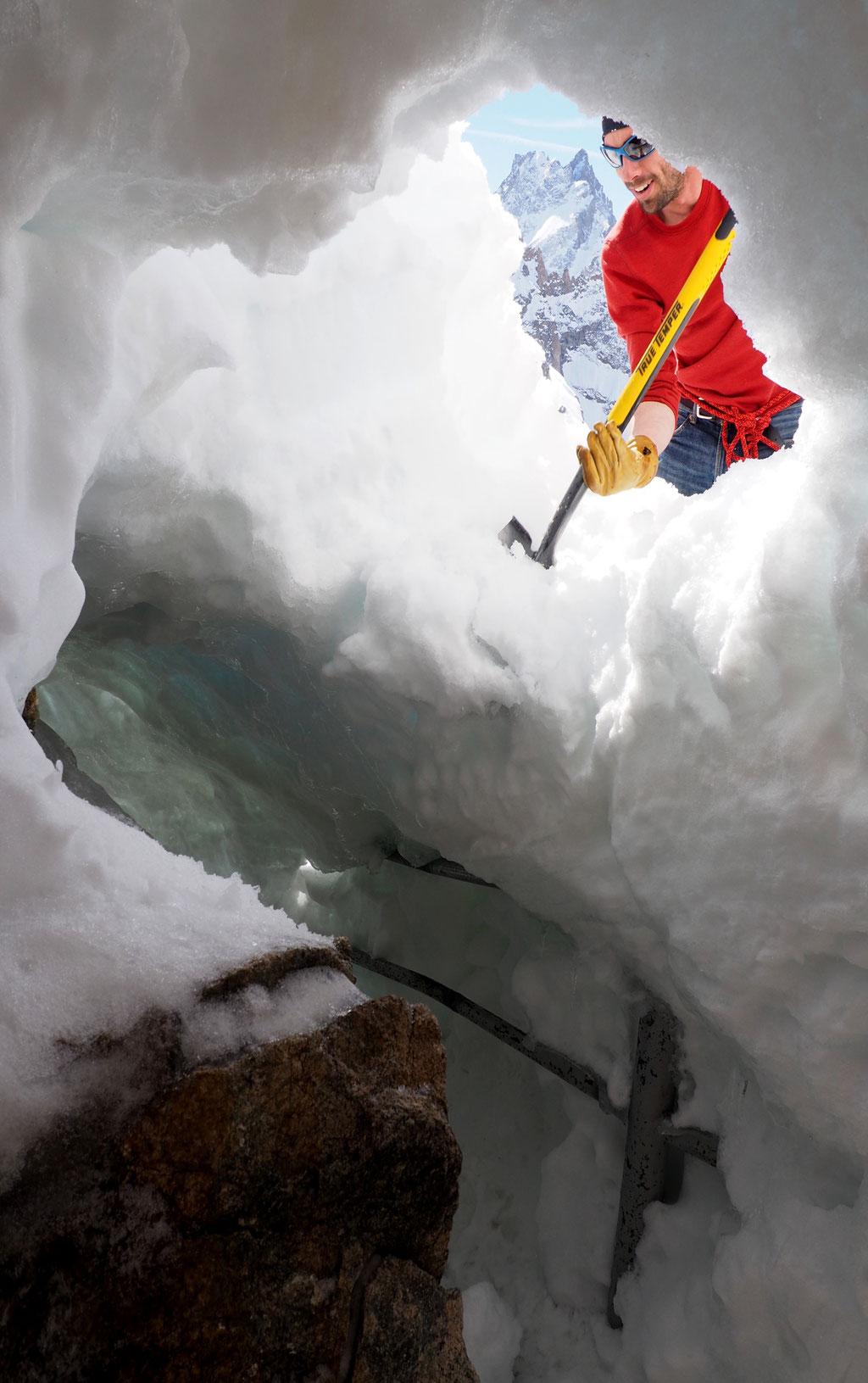 20 jours après avoir creusé ce tunnel de 11 mètres, nous avons préféré le faire tomber. Avec la chaleur il commençait à s'affaisser...