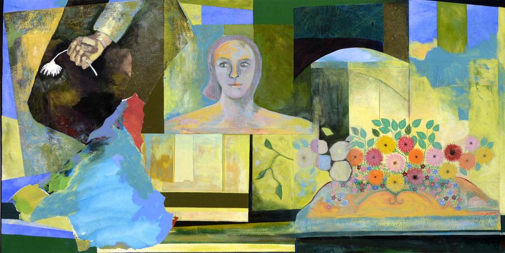 """2012, Héritage, 34"""" x 67"""" / 87 x 170 cm.  Acrylic and collage on canvas / Acrylique et collage sur toile.  Photo: Réal Capuano"""