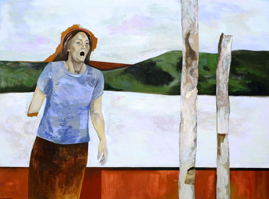 """Écho, 2012, 150 x 200 cm. - 59"""" x 79"""", acrylique et collage sur toile - acrylic and collage on canvas.  Photo: Réal Capuano"""