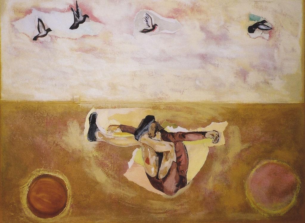 "Incorporation, 2004, 20"" x 26"" / 51 x 66 cm.  Acrylic and collage on canvas / Acrylique et collage sur toile."