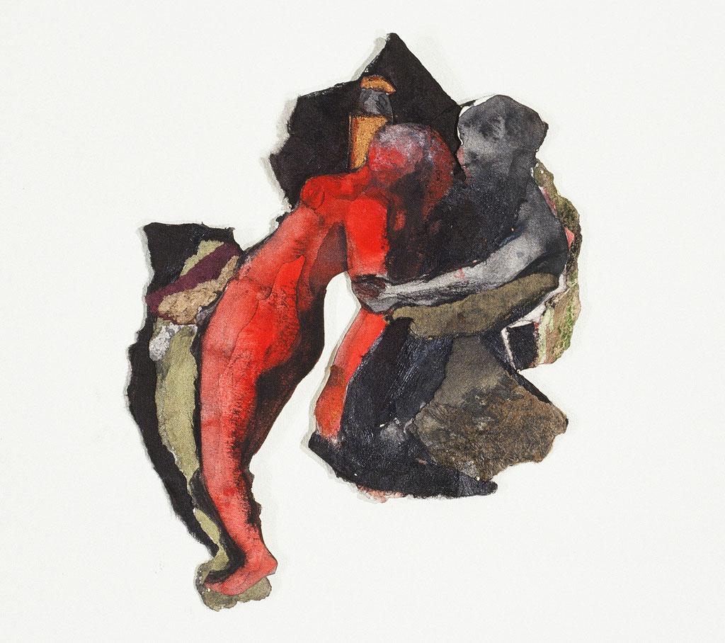 Mes ancêtres pourtant mortes muettes I, d'après Delacroix, 1991, 21 x 16 cm. Techniques mixtes sur papier, Collection privée, Photo: Paul Litherland