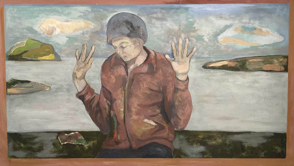 """Sans titre, 2005, 165 x 92 cm - 65"""" x 36"""", techniques mixtes sur toile - mixed media on canvas."""