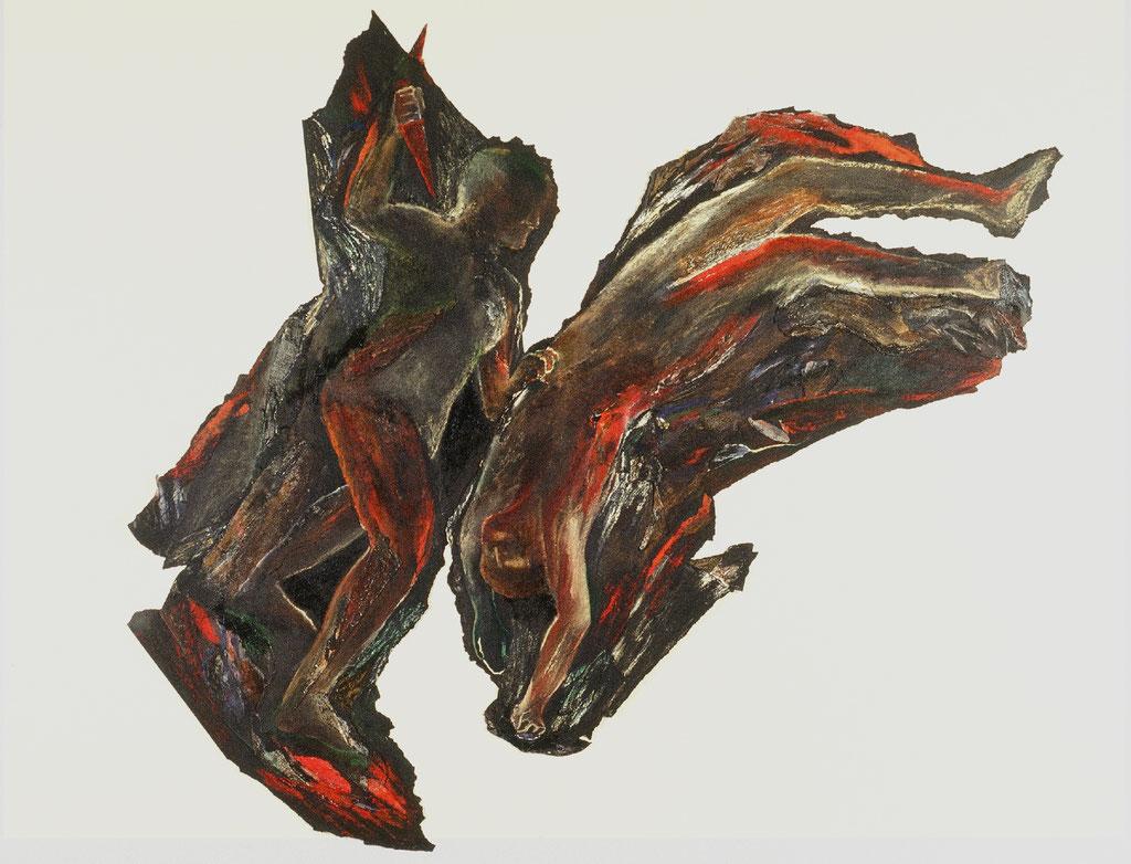 C'est toujours soudain quand le vent ne chante plus, d'après Goya, 1991, 275 x 245 cm, techniques mixtes sur papier goudronné. Photo: Paul Litherland
