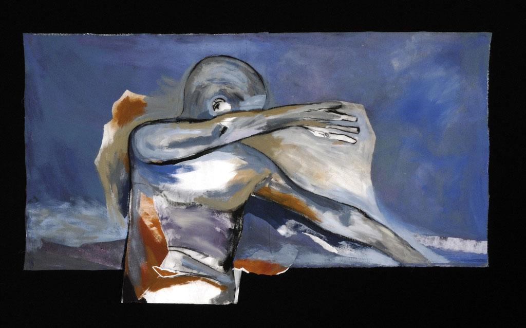 """Marée Haute, 2007, 57"""" x 33"""" / 144 x 84 cm.  Acrylic and collage on canvas / Acrylique et collage sur toile. Photo: Réal Capuano."""