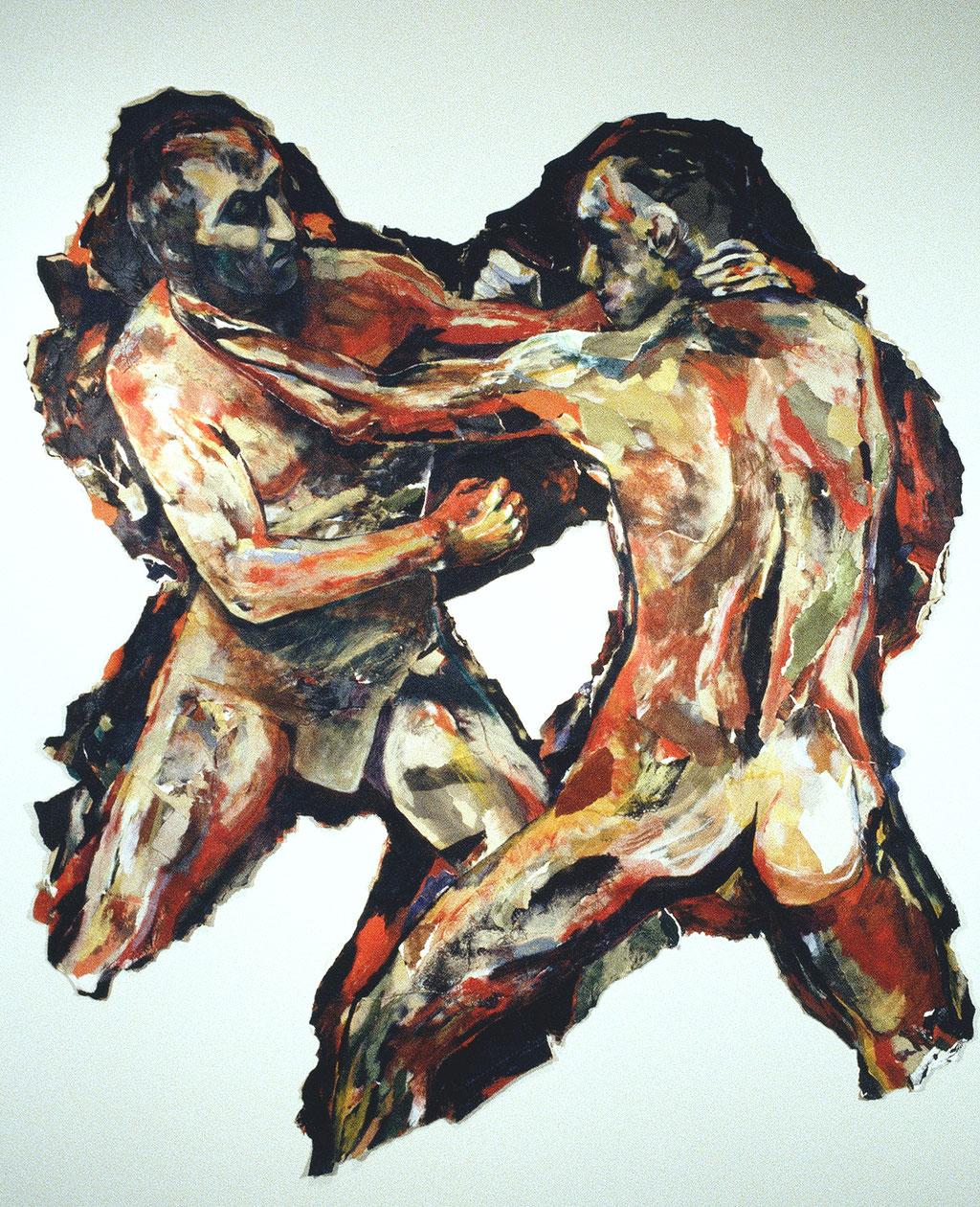Nos chiens nous mêmes courant après nous-mêmes, d'après Muybridge, 1994, 167 x 150 cm, techniques mixtes sur papier.