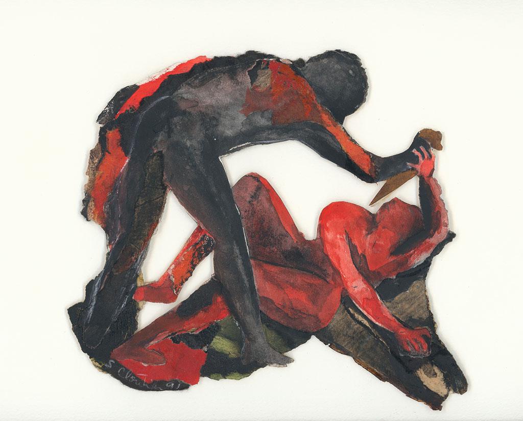 Mes ancêtres pourtant mortes muettes II, 1991, 19 x 20 cm, techniques mixtes sur papier. Collection privée, Photo: Paul Litherland